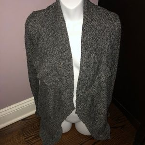 Open Sweater Draped Cardigan Marled Black/White XS